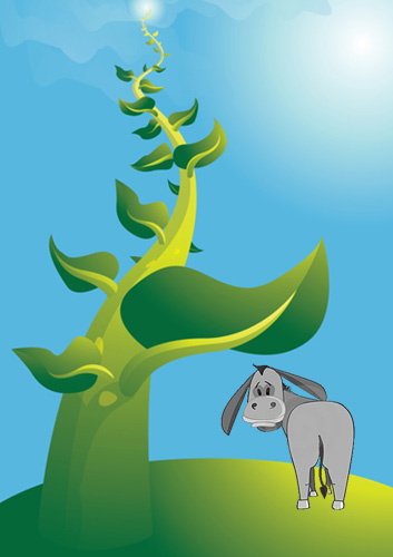 giant beanstalk with donkey